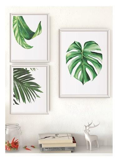 Lyn Home & Decor Yeşil Yapraklar Çerçeveli Poster 3 Lü Tablo 1 Adet 23,5X33,5 2 Adet 17,5X23,5 Beyaz